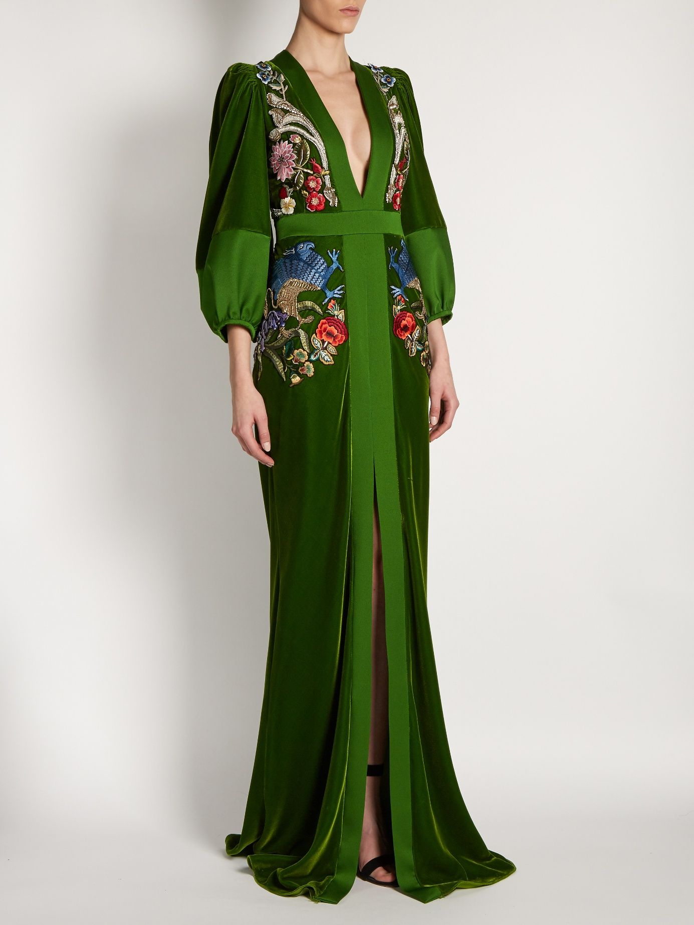 17d52292b32e7 Click here to buy Alexander McQueen Deep V-neck embroidered velvet gown at  MATCHESFASHION.COM