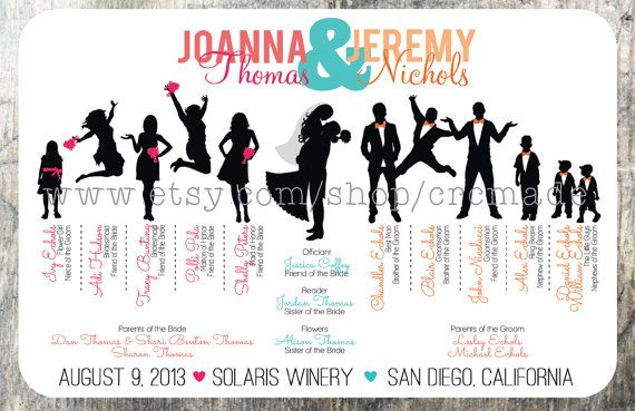 Silhouette Wedding Program Digital Printable