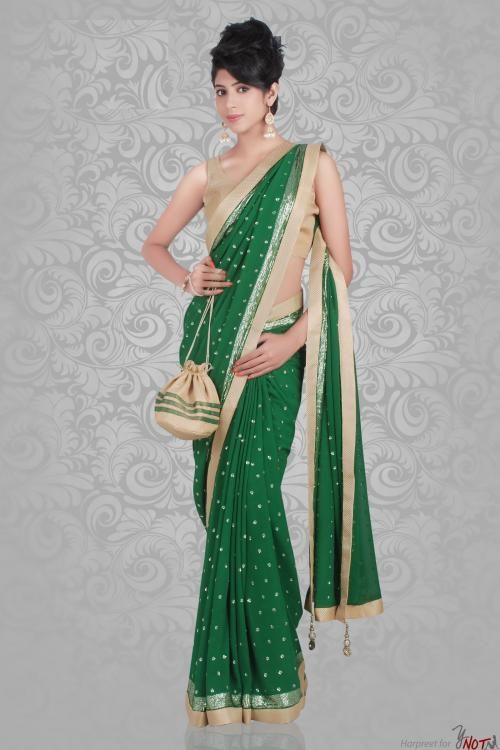 5b512de91cc29 Green Saree with Gold Brocade Blouse By   Harpreet Gill Description This  beautiful saree features a green georgette saree with gold border on edge