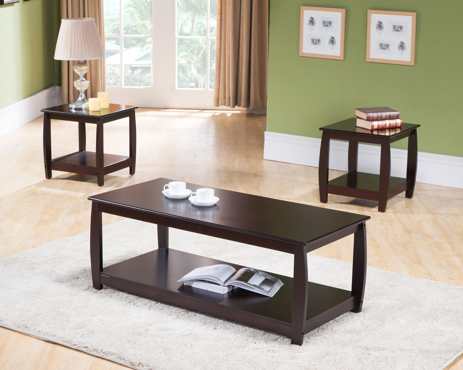 3 Piece Dark Cherry Wood Occasional Cocktail Coffee & 2 End Tables