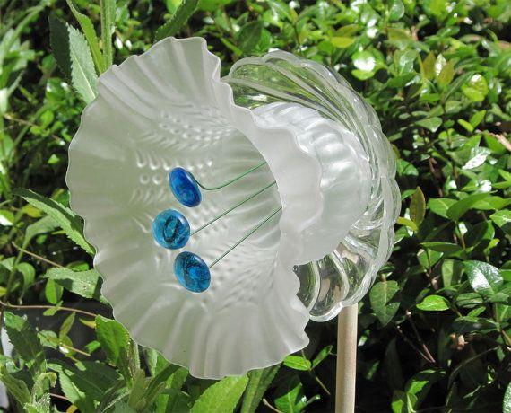 Frosted blue trumpet glass flower plate garden art for Recycled flower art