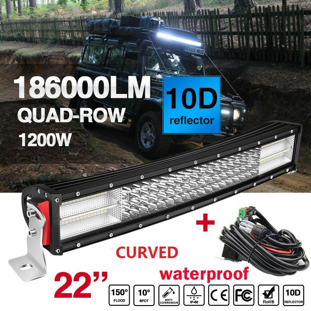 10d 22 1200w Cree Curved Led Work Light Bar Spot Flood Combo Wiring Harness Colight Led Work Light Bar Lighting Work Lights