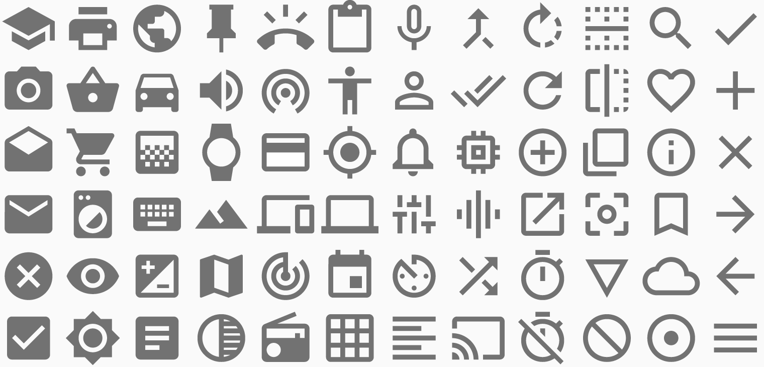 Material Style icon set. Best design of modern clean flat