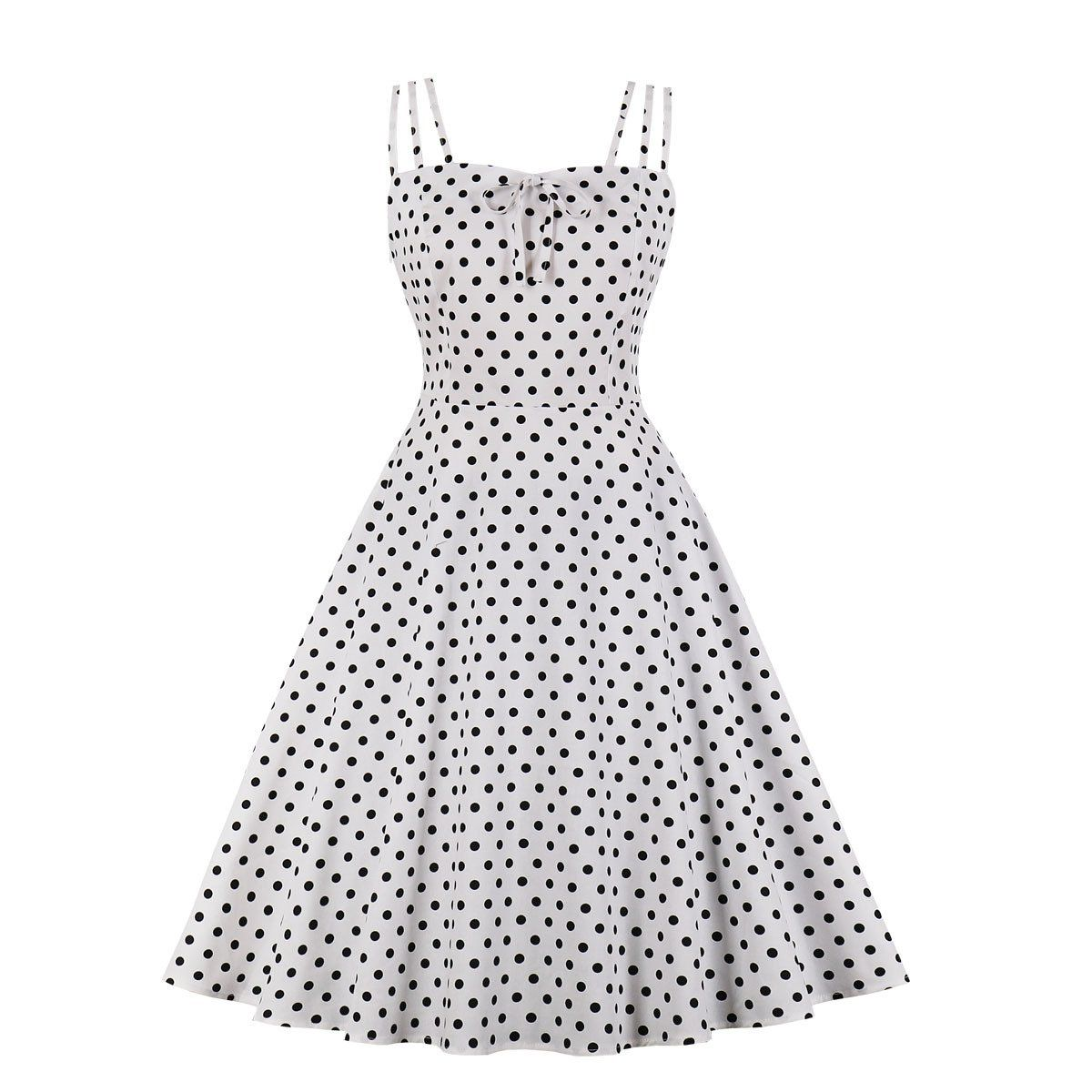 Vintage Dot Strap A-line Dress, White / XL