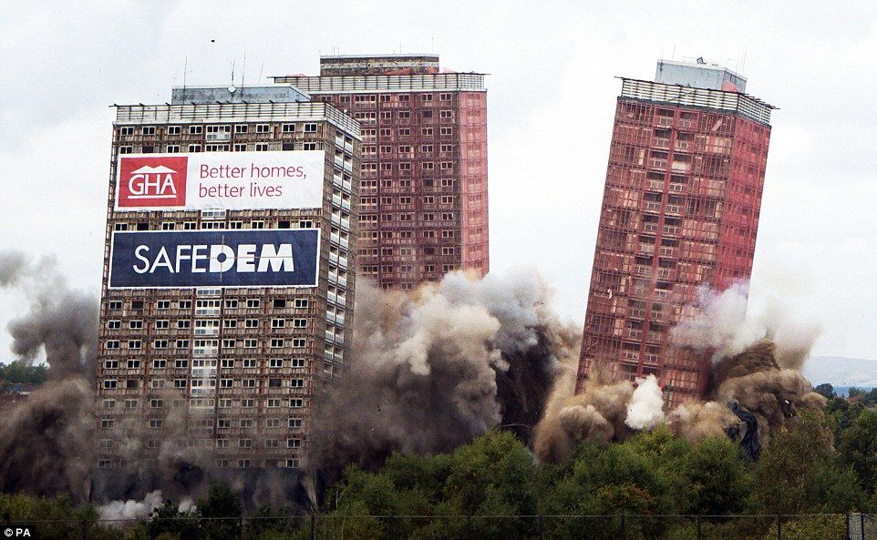 Toppled:The six remaining Red Road multi-storey flats in Glasgow were brought down in a single effort tht lasted just seven seconds . For how many it was the place they´ve called HOME...Yet it is understndable why , still...Oh !