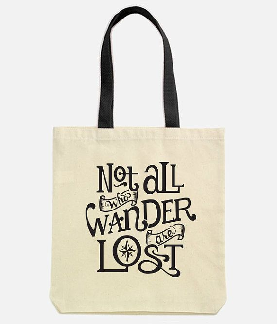 Not All Who Wander Screen Printed Cotton Canvas Tote Bag Tolkien Lord Of The Rings