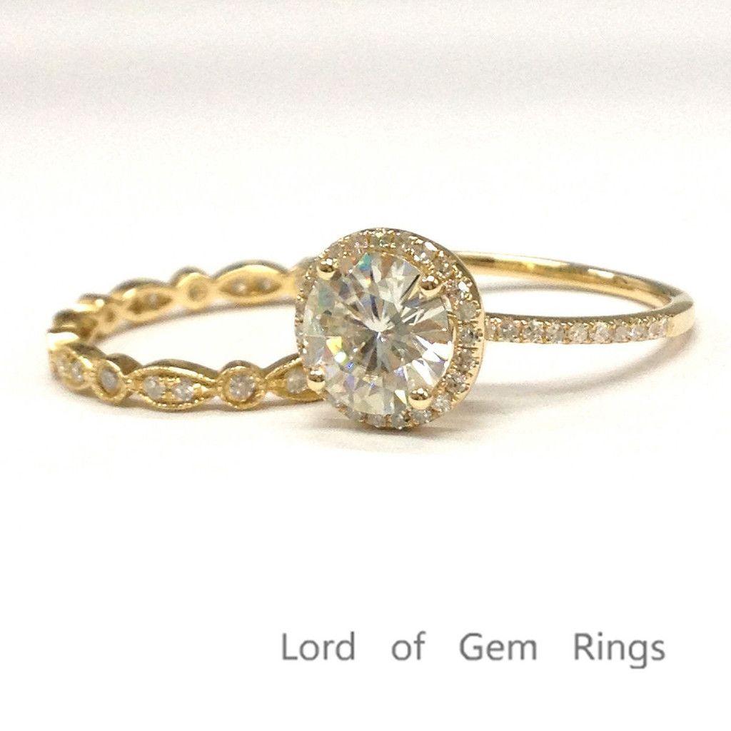 Round moissanite engagement ring sets pave diamond wedding k