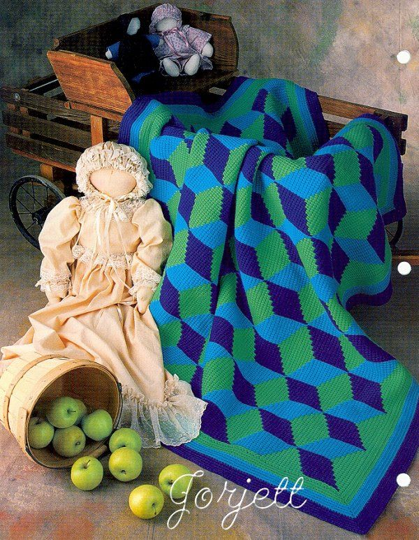 Tumbling Blocks Quilt, Annie\'s Tunisian crochet pattern | Tunisian ...