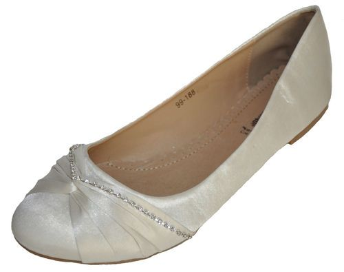 Diamante Satin Ivory Wedding Bridal Ballerina Flat Pumps 4 5 6 7 8