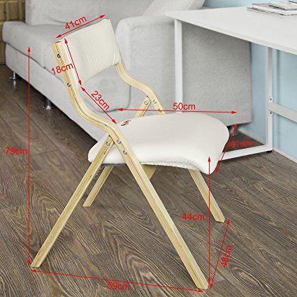 Sobuy fst40 w chaise pliante en bois avec assise rembourrée chaise pliable pour
