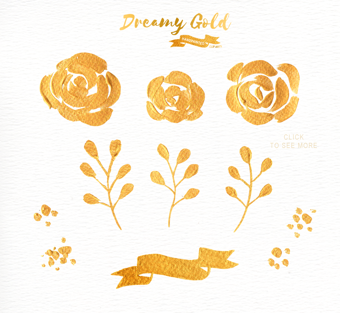 Dreamy Gold Flower Clipart by everysunsun on @creativemarket