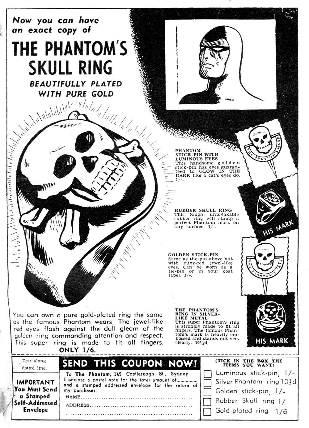 The Phantom\'s Skull Ring\' advertisement...Frew Publications, Sydney ...