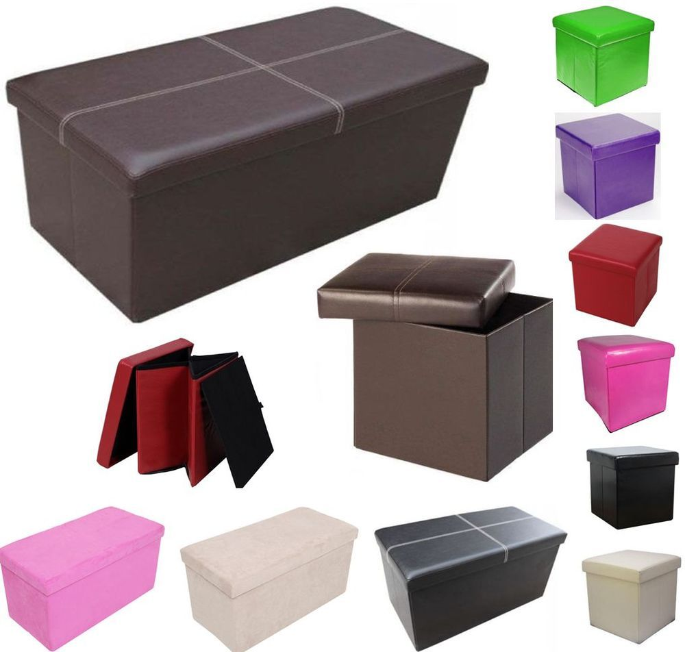 Faux leather folding ottoman pouffe seat foot stool storage box - Faux Leather Folding Ottoman Pouffe Seat Foot Stool Storage Box