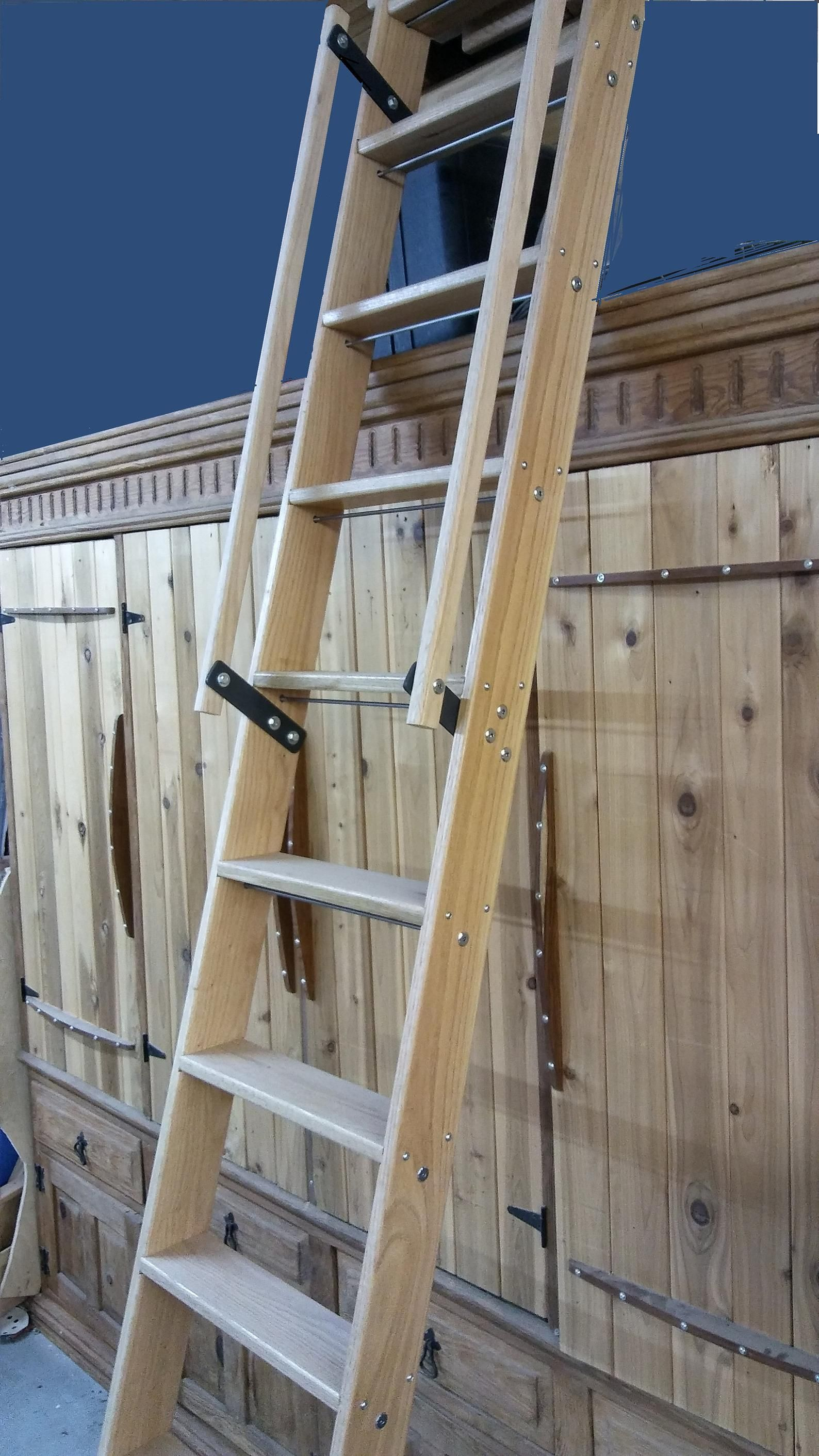 Unfinished Loft Ladder With Handrails And All Mounting Etsy Loft Ladder Wood Ladder Stair Ladder