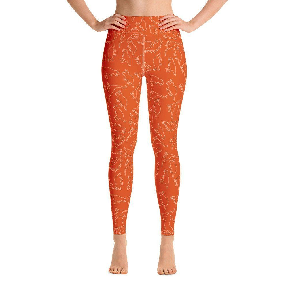 44013b8587a71 Orange dinosaur leggings, Dinosaur womens leggings, yoga pants, Fun Workout  leggings | high waisted leggings | leggings with pocket | athletic leggings  ...