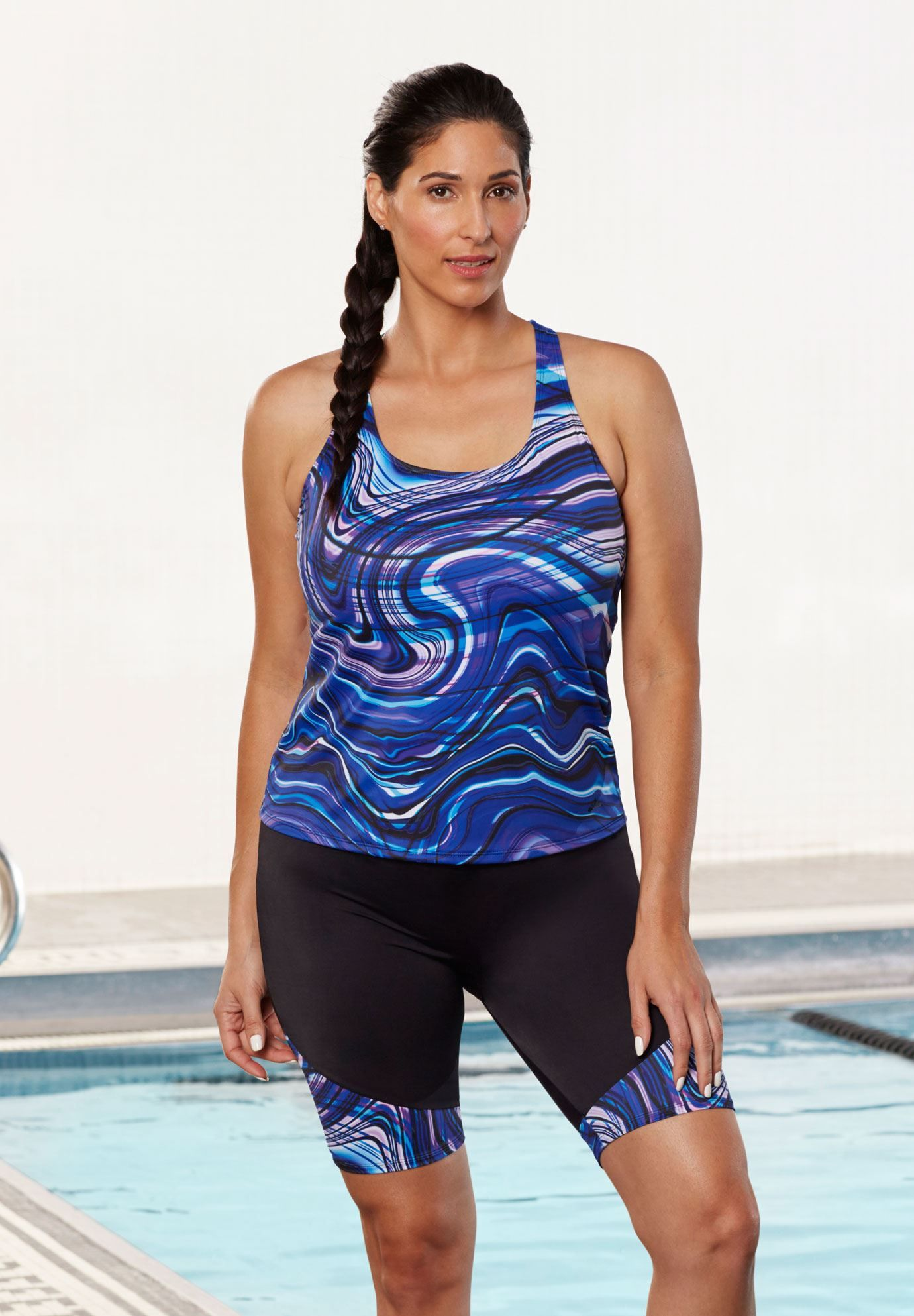 3962328611e86 Racerbank tankini top by Aquabelle | Plus Size All Swimwear | Woman Within