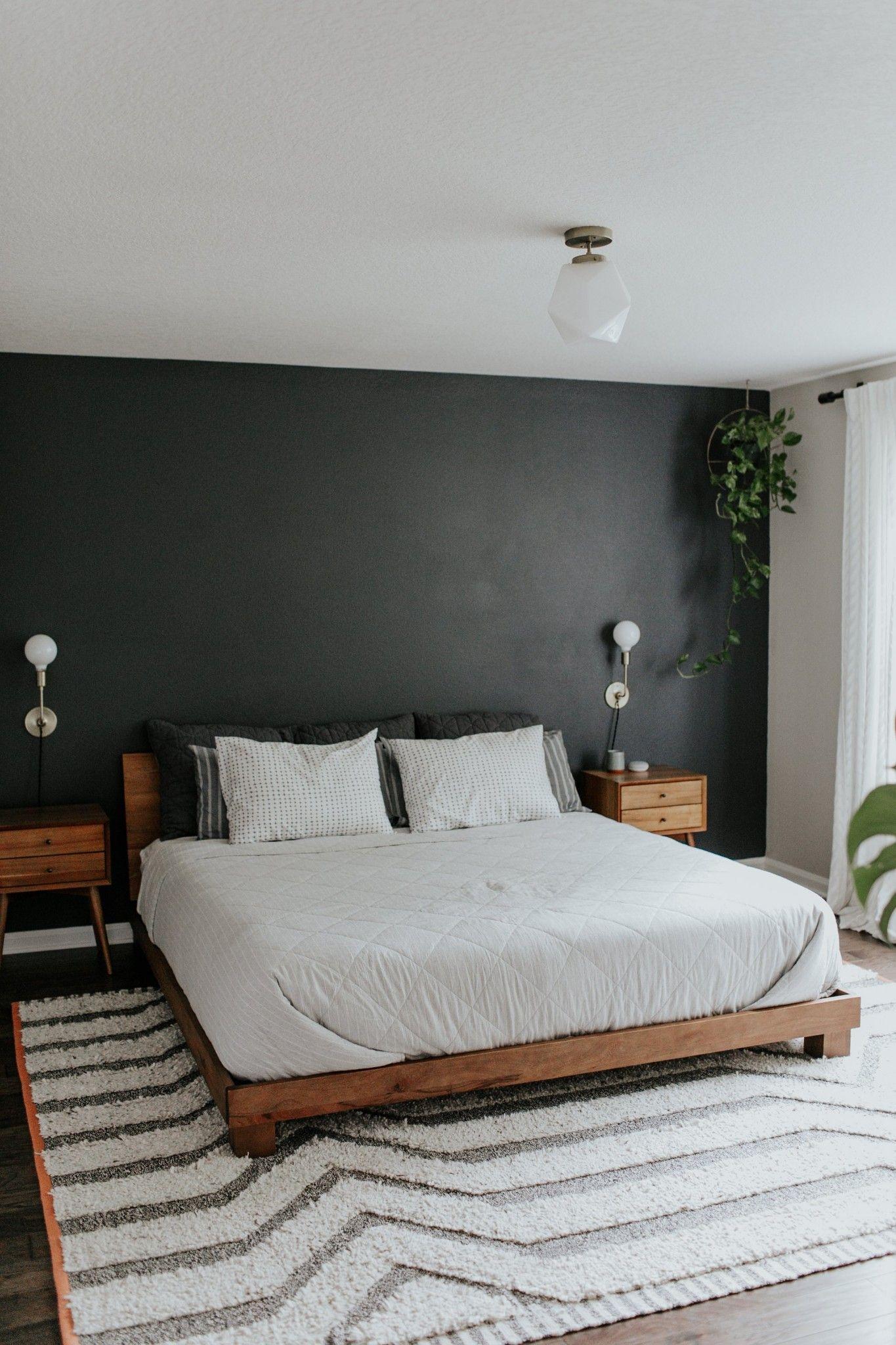 Black Accent Wall Wood Mid Century Modern Nightstands Platform