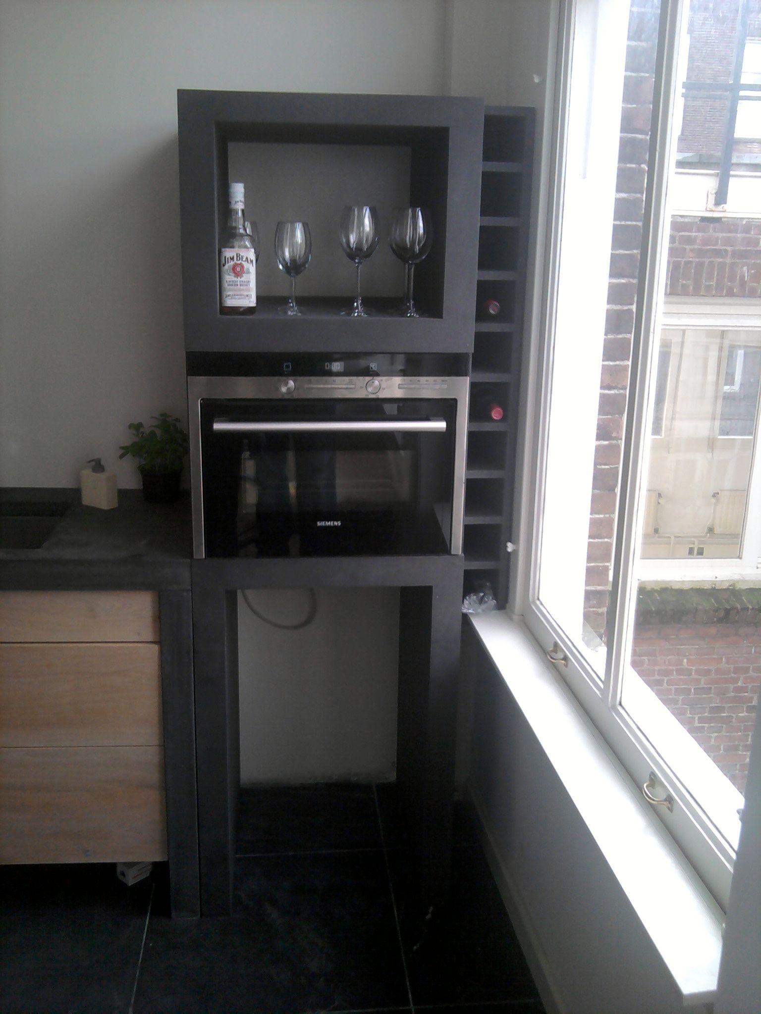 Keukenkast Voor Magnetron En Wijn Van Zwart Mdf Danielle