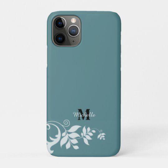 Blue White Floral Leaves Swirl Monogram CaseMate iPhone