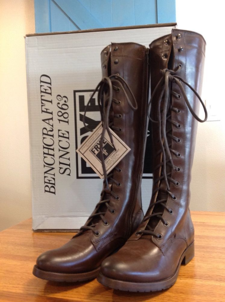 5d4523a6313 SALE $199 NEW FRYE Women's Melissa Tall Lace Up Boot 7 Dark Brown ...