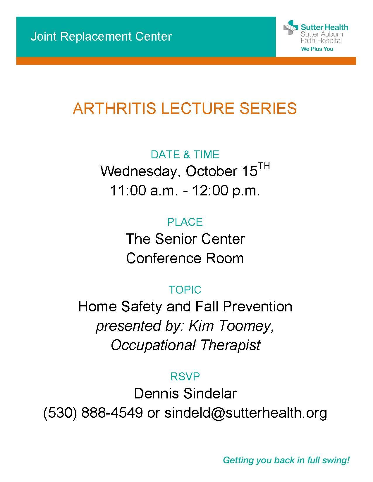 As part of our Arthritis Lecture Series, the Joint