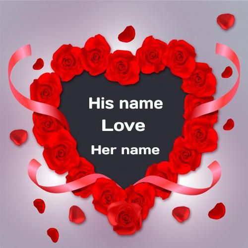 Write Name On Love Wishes Rose Greeting Card For Lover With Name