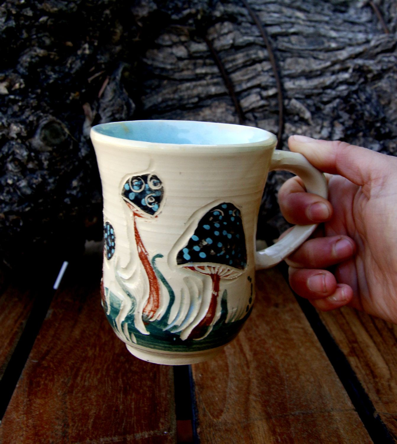 Hand made pottery coffee mug. Mushroom decorated mug. woodlands. ceramic mug. unique tea cups. coffee cups. mushrooms. gift for Christmas #teamugs