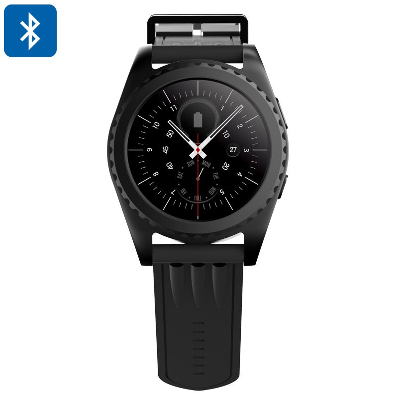 Bluetooth Smart Watch - Phone Calls, Messages, Pedometer, Heart Rate Monitor, 1.2 Inch Touch Screen, Sleep Monitor (Black) - Bluetooth smart watch that lets you engage in hands-free phone calls and send messages straight from your wrist. Compatible with iOS and Android Smartphones.