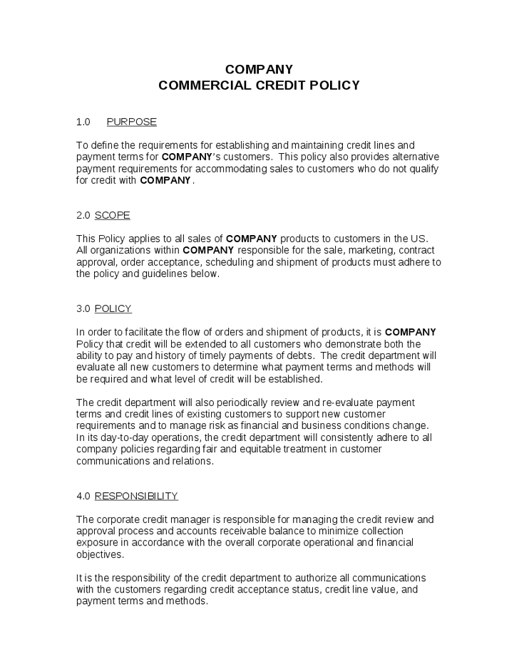 Credit Policy Template 154 Policy Template Proposal Templates Excel Templates