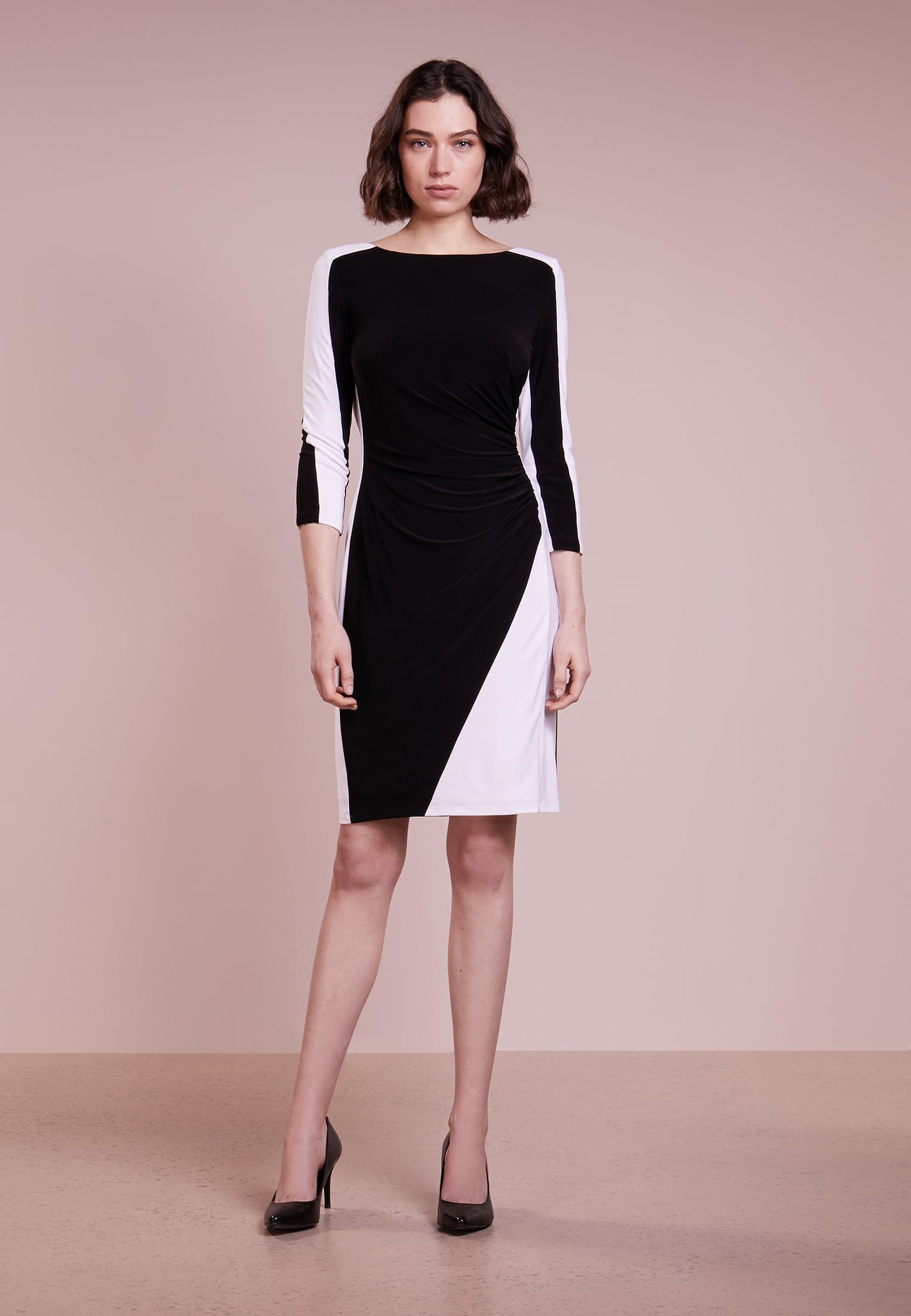 e2c8489f50b110 Kleding Lauren Ralph Lauren MATTE TREVA TONE - Etui-jurk - black white Zwart