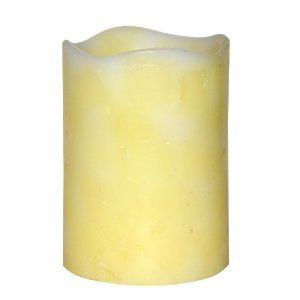 DFL 3*4 Inch Wavy Side Flameless Real Wax Pilliar led Candle With Timer,Spring Color,Yellow