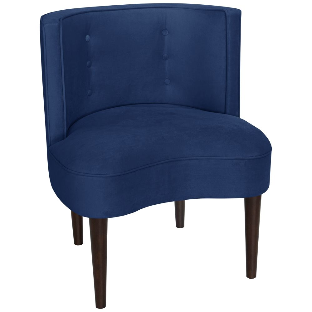 Best Curve Ball Velvet Navy Blue Fabric Armless Accent Chair 400 x 300