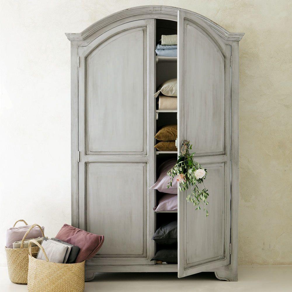 armoire en manguier gris perle l 130 cm saint rmy maisons du monde