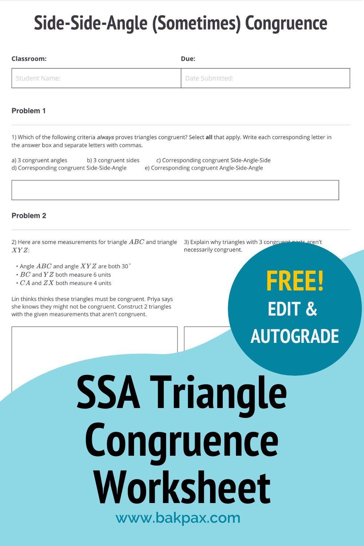 Free SideSideAngle Triangle Congruence Geometry