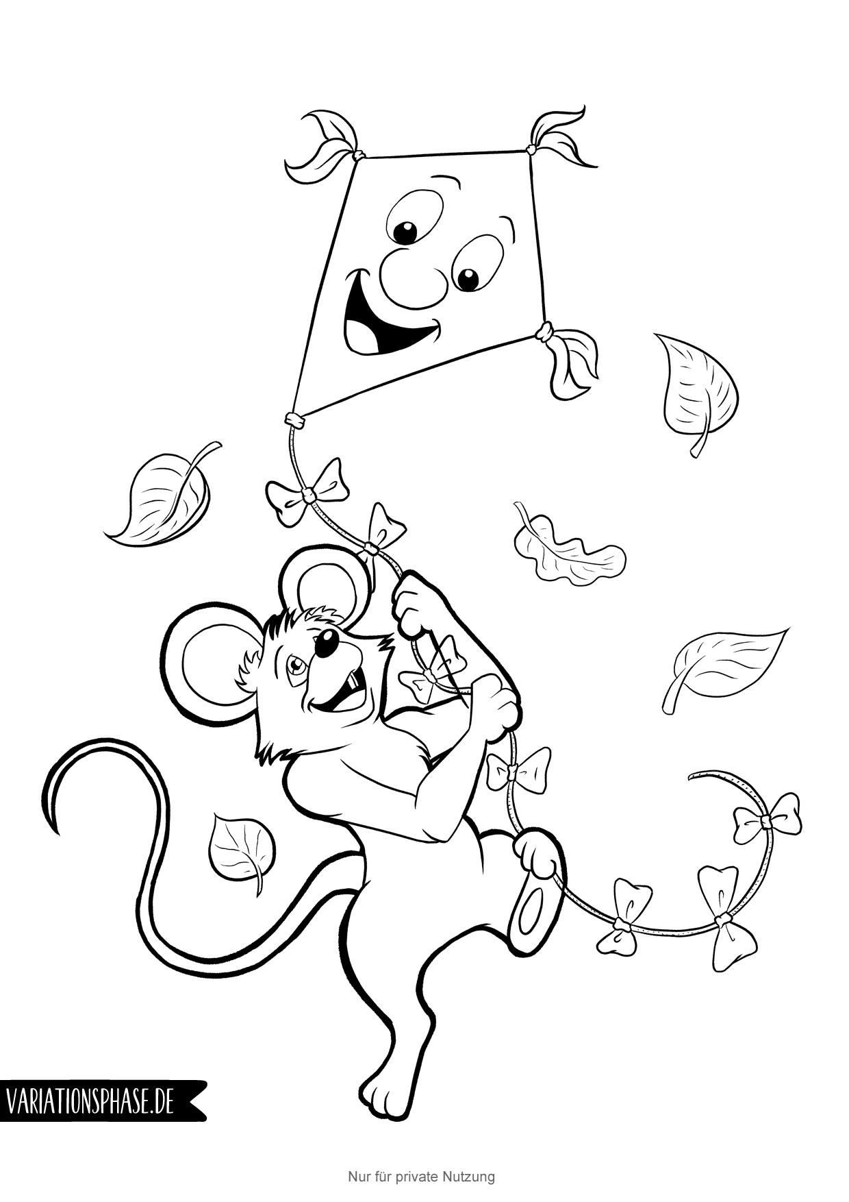Maus Lässt Drachen Steigen Ausmalbild Herbst Maus Drachensteigen