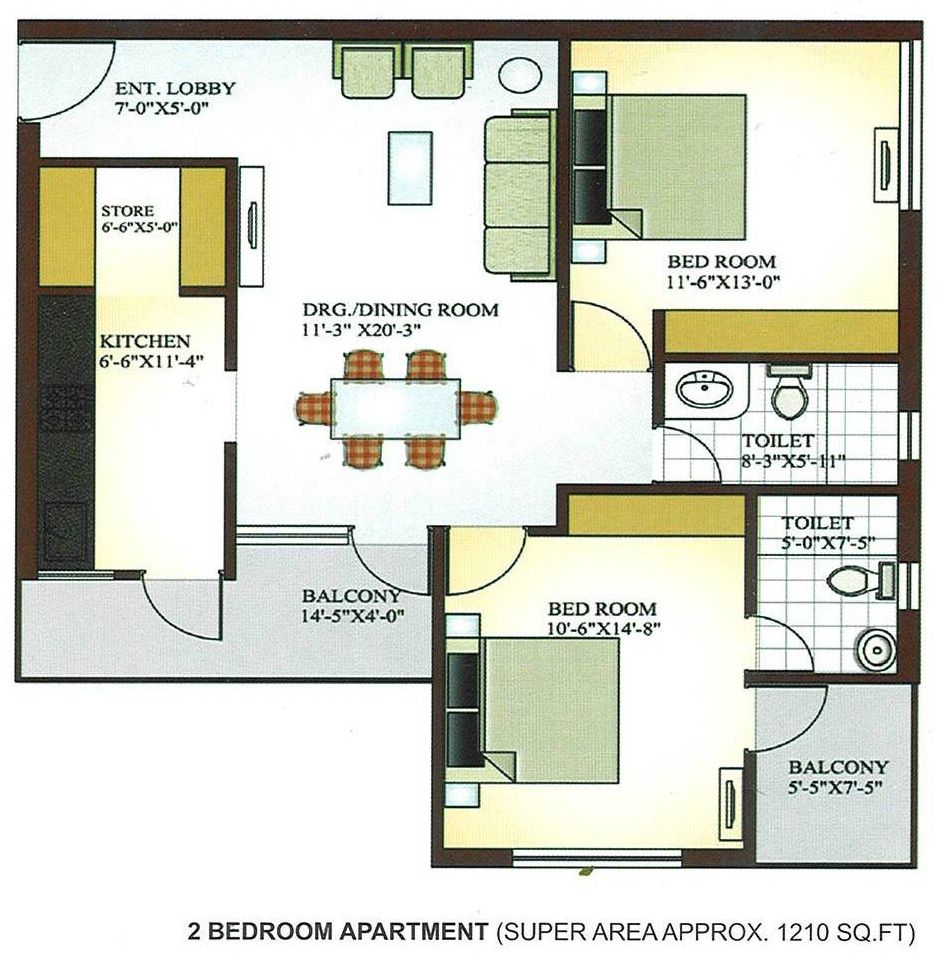 best 2 bedroom flat plan drawing. 2 person apartment plan  Google Search affordable housing