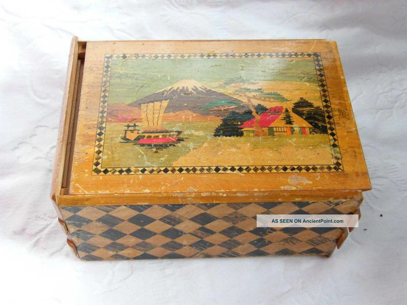 Vintage Japanese Specimen Wood Inlay Puzzle Box