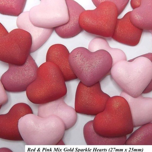 I  hearts on cupcakes. And these ones have just been listed on the eBay shop. Each heart has a splendid gold sparkle to bring a gleam to the main shade be it luscious red hot pink or baby. At just 5.50 for a set of 12 including UK p&p. #JustAddCake for #Valentines. - - - - #sugarcraft #sugarart #hearts #pink #red #cupcakes #cakes #weddingcake #weddingideas #womeninbusiness #shopsmall #ebay