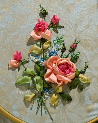 Silk ribbon roses google search needle art pinterest