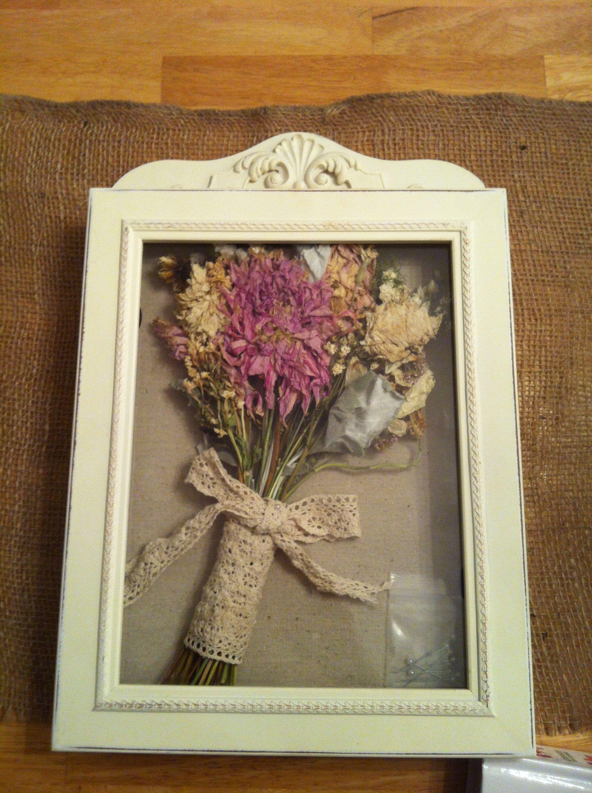 My wedding bouquet in a shadow box