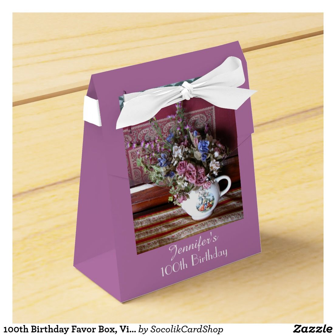 100th Birthday Favor Box, Vintage Teapot Favor Box