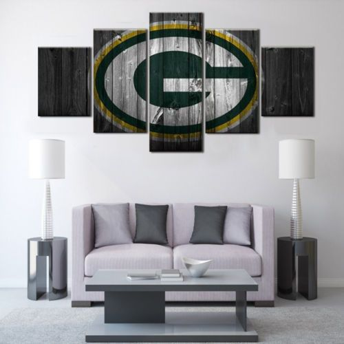 Green Bay Packer Football Sport Painting Printed Canvas Wall Art Home Decor  5pcs