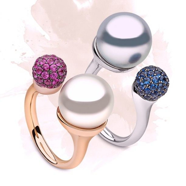 Our new #pearl #stackingrings feature a clean and stylish design. Wear one alone, or make a more colourful statement by wearing two together. #pearljewellery #pearls #yokolondon #yokopearls #ring #finejewellery #finejewelry #sapphires #twoisbetterthanone #jewellery