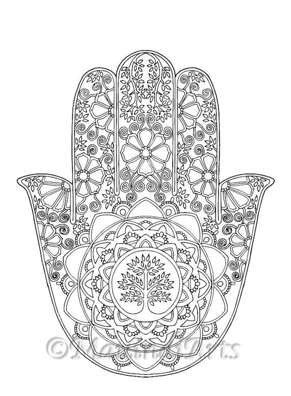 Hand Drawn Adult Coloring Page Print Hamsa Tree of Life