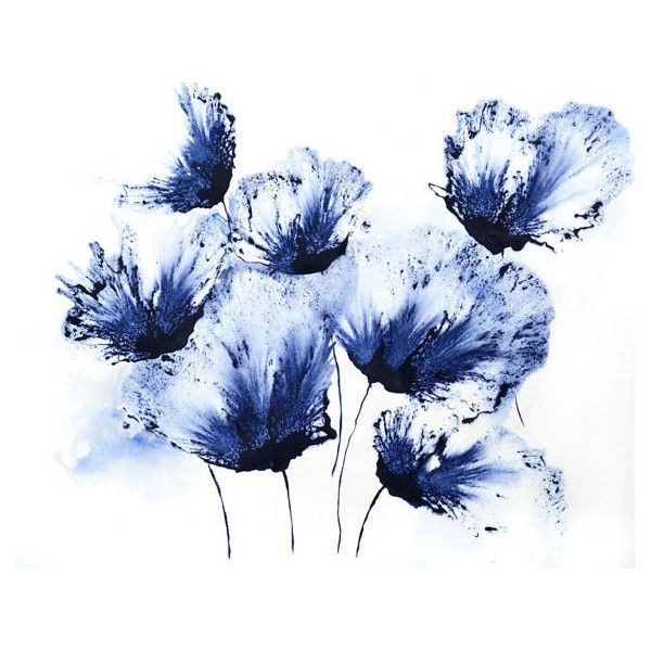 Original Art Home Decor Navy Blue Flower Wall Art Small Painting 45 Liked On Polyvore Blue Flower Painting Flower Art Painting Navy Blue Wall Art