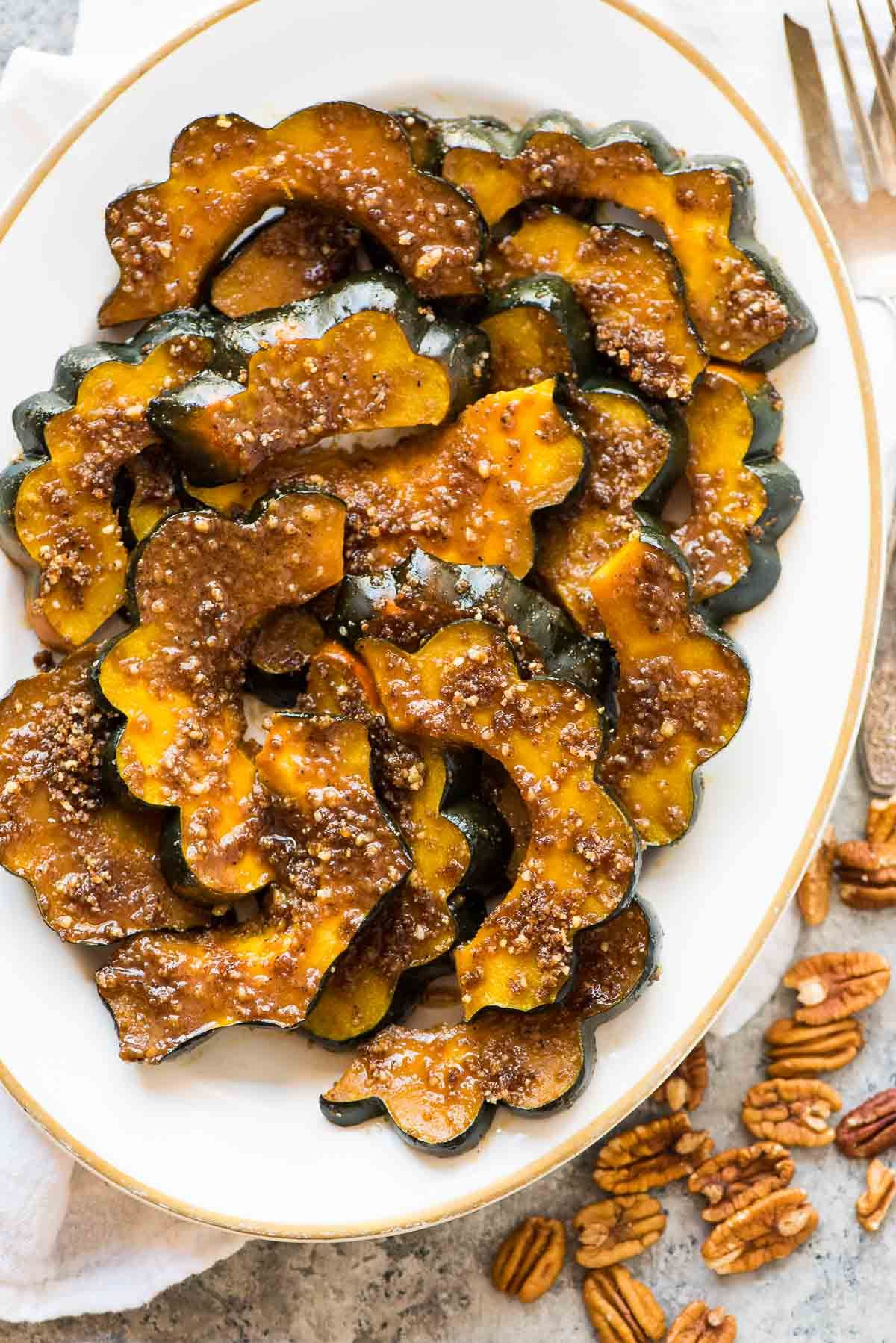Baked Acorn Squash Slices With Brown Sugar And Pecans A Few