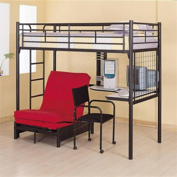 Black Metal Twin Sized Loft Bed With Built In Desk Futon Frame Chair And Castered Desk Chair Habitaciones Pequenas Dormitorios Literas