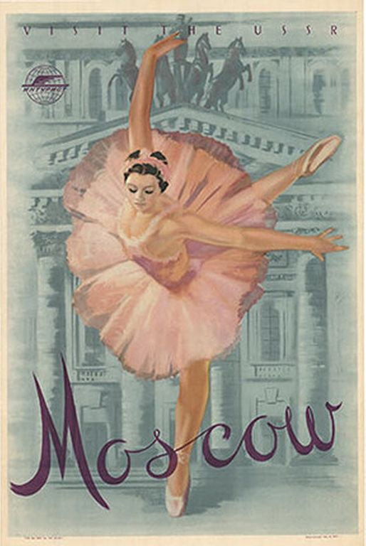 A lovely ballerina dances in front of the Moscow Opera House in this linen-backed poster; only 1,000 were printed.