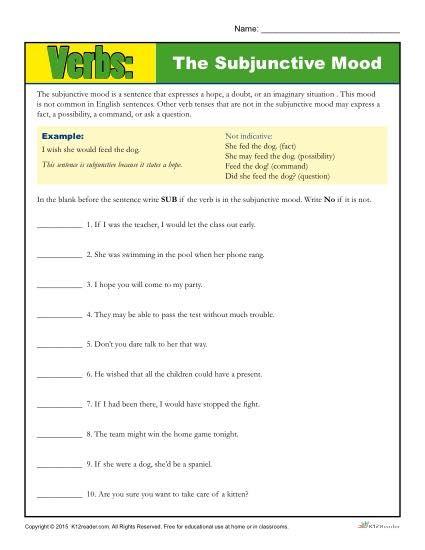 The Subjunctive Mood Verb Worksheet Verb Worksheets Grammar