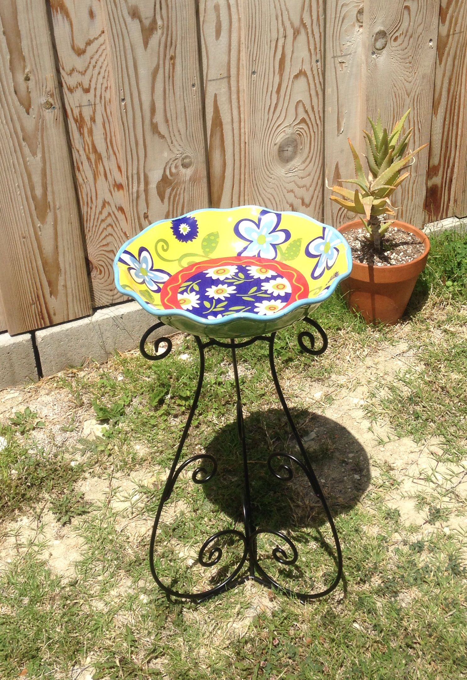 Bird Bath Using Gazing Ball Stand Bowl From Hobby Lobby Clearance 66 80 Off